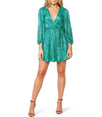 women's bardot bellissa pleated long sleeve faux wrap dress, size small - green