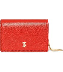 burberry grainy leather card case with detachable strap - red
