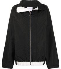 lourdes spread collar zip-up jacket - black