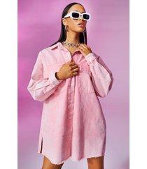 pastel wash spijkerblouse jurk met gerafelde zoom, pink
