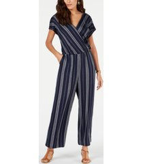 style & co striped v-neck jumpsuit, created for macy's
