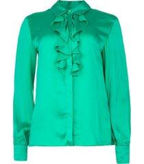 blouse met ruches sylvian  groen