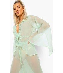 chiffon strand blouse met mouwsplit, mint