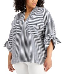 calvin klein plus size roll-sleeve v-neck striped top