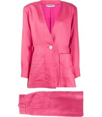 yves saint laurent pre-owned jacket and skirt suit - pink