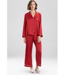 natori feather satin essentials pajamas, women's, red, size xl natori