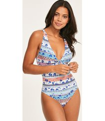 boho floral bunny tie shaping one-piece swimsuit