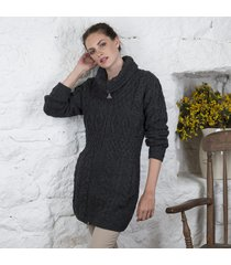 ladies double collar zipped coat charcoal small