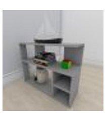 mesa de cabeceira formato slim em mdf cinza