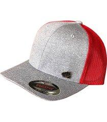 gorra fist con pin gris con malla roja atrásgfistcap36