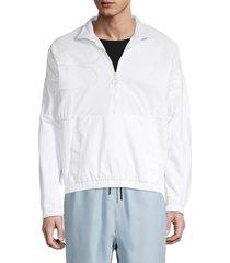 fila men's quarter-zip logo velour jacket - peacoat - size s