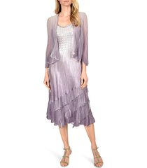 women's komarov charmeuse & chiffon tiered dress with jacket