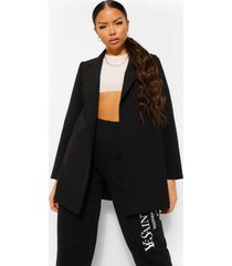 petite geweven oversized blazer met ceintuur, black