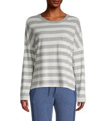 michael stars women's striped cotton long-sleeve top - heather grey chalk - size l