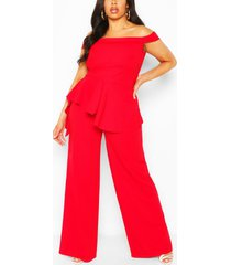 plus off shoulder ruffle peplum jumpsuit, red