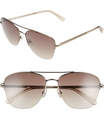 women's rebecca minkoff indio2 57mm aviator sunglasses - light brown/ brown gradient