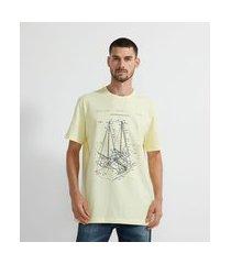 camiseta manga curta com estampa barco | marfinno | amarelo | eg i
