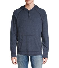 mills supply men's raglan-sleeve cotton-blend hoodie - navy - size l