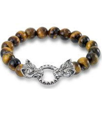 andrew charles by andy hilfiger men's tiger's eye bead wolf head stretch bracelet in stainless steel (also in onyx & white agate)
