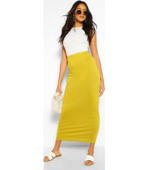 basic jersey maxi rok met contrasterende taille, olijf