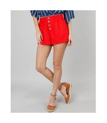 short feminino midi com botões vermelho