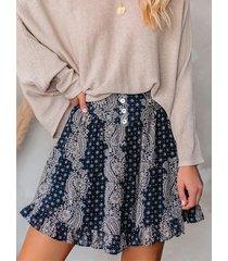 yoins falda de paisley con dobladillo con volante azul marino