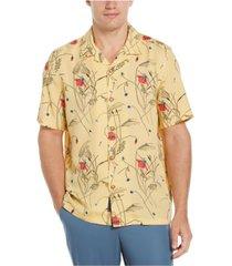 men's floral print camp collar soft short sleeve button-down shirt