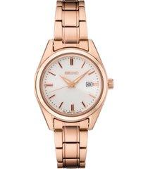 seiko women's essentials rose gold-tone stainless steel bracelet watch 29.8mm