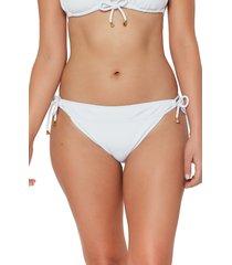 women's bleu by rod beattie walk line side tie hipster bikini bottoms, size 14 - white