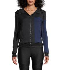 alala women's mesa colorblock bomber jacket - black navy - size s
