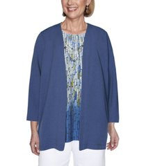 alfred dunner women's crinkle woven two-for-one top