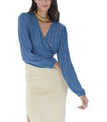 allison new york women's metallic stripe wrap top