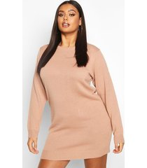 plus crew neck long sleeve dress, blush