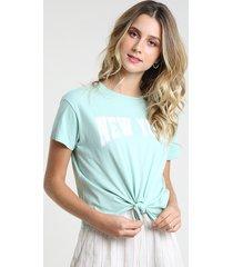 "blusa feminina ""new york"" com nó manga curta decote redondo verde claro"