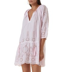 women's melissa odabash ashley eyelet detail cotton cover-up tunic, size small - pink