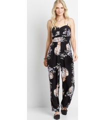 maurices womens black floral sweatheart neck jumpsuit