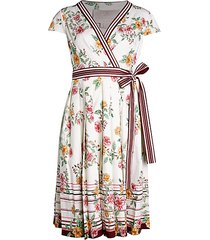 floral pleated a-line wrap dress