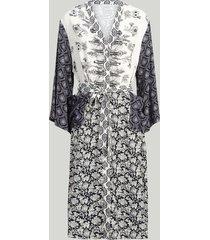 summum 5s1133-11173 490 jurk belted kimono patchwork indigo blauw