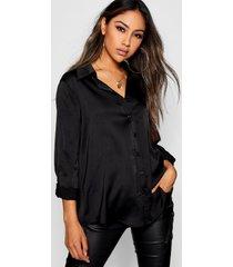 oversized geweven satijnen blouse met lange mouwen, zwart