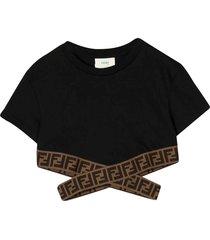 fendi black t-shirt with logo bands