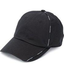 acne studios logo-trim cotton cap - black