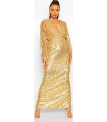 tall maxi jurk met pailletten en vleermuismouwen, gold
