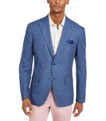 tallia orange men's slim-fit navy/light blue check sport coat