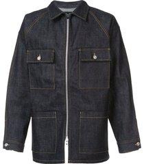 raw selvedge denim long jacket