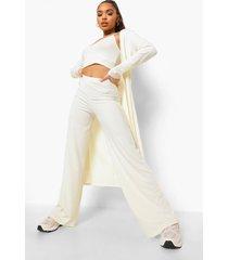 geribbelde bralette, duster jas en wide leg broek, cream