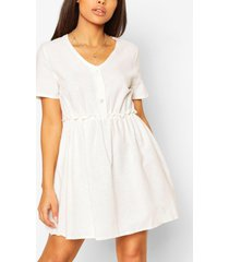 petite linen button through smock dress, ecru