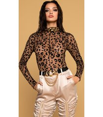 akira leopard burnout velvet long sleeve bodysuit