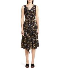 women's lafayette 148 new york floral print silk dress, size 8 - black