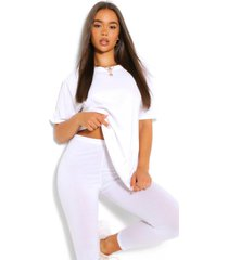 oversized boxy t-shirt & legging co-ord, white