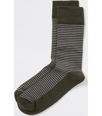 river island mens khaki textured stripe socks